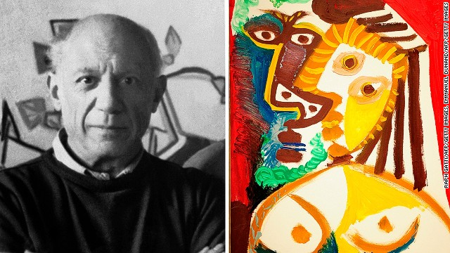 "Legendary artist Pablo Picasso, pictured here in his atelier in Mougins in the 1960s, is said to have struggled with depression. That didn't stop him from producing canvasses of vivid and explosive color, such as ""Homme et Femme au Bouquet"", shown here (detail)."
