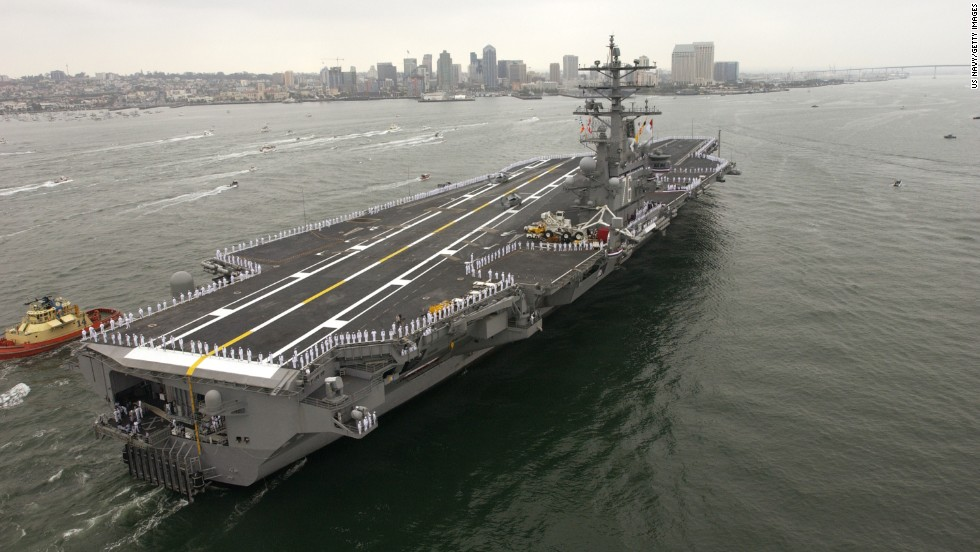 The USS Ronald Reagan, a member of the Nimitz class of aircraft carriers, enters San Diego harbor in July 2004. The U.S. Navy announced that the ship will join the U.S. 7th Fleet in Yokosuka, Japan. Click through the gallery to see photos of other carrier classes throughout American history.