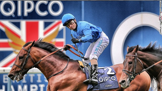 Silvestre De Sousa celebrates after he rides Farhh to win The QIPCO Champion Stakes at Ascot last year.