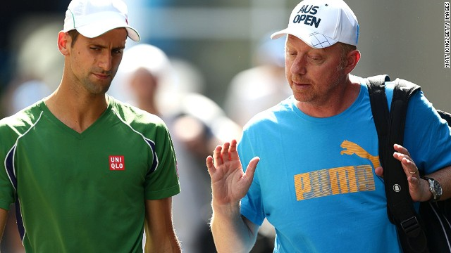 Boris Becker (right) in conversation with world No. 2 Novak Djokovic at the Australian Open in Melbourne. The 46-year-old German is one of several former grand slam champions to recently take up a coaching role with a top player.