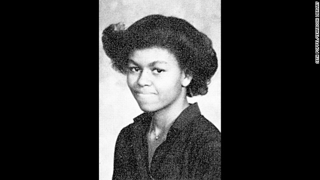 Obama's 1980 yearbook photo from Whitney Young High School in Chicago. The magnet school was far from her home on the south side of the city, however, and her round-trip commute was three hours.