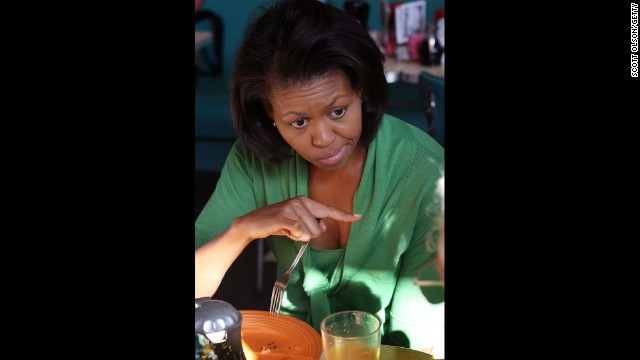 Michelle Obama has breakfast at Pamela's Diner in Pittsburgh in April 2008.