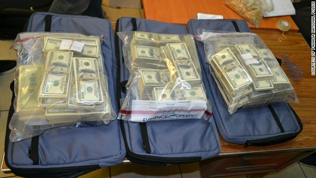 Police at a Panama airport find more than $7 million stashed inside suitcases on 11 January.