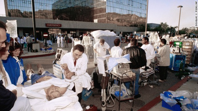 Medical personnel work a triage unit outside Sylmar's Olive View Medical Center to help some of the people injured in the earthquake.