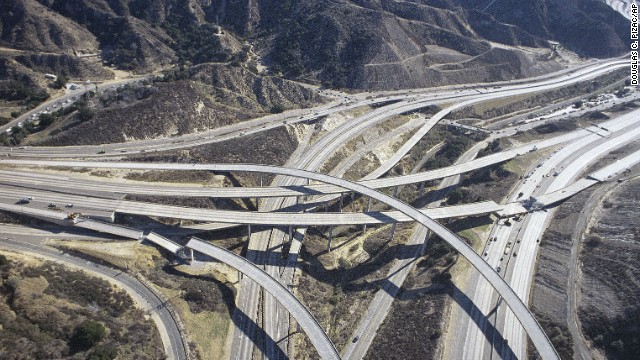 Two sections of highway ramps are collapsed a day after the earthquake.