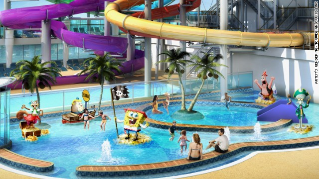Norwegian Getaway has a pirate-themed children's aqua park on board featuring SpongeBob SquarePants. The new ship is scheduled to be christened in February.