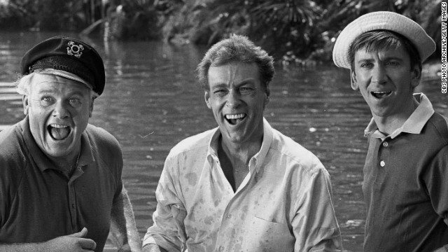 "Russell Johnson, center, stands with Alan Hale Jr., left, and Bob Denver in an episode of ""Gilligan's Island"" in 1966. Johnson, who played ""the professor"" Roy Hinkley in the hit television show, passed away January 16 at his home in Washington state, according to his agent, Mike Eisenstadt. Johnson was 89."