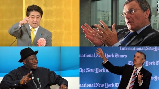 Japanese PM Shinzo Abe, CEO of WPP Martin Sorrell, Nigerian's Goodluck Jonathan and journalist Thomas Friedman.