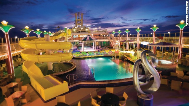 The top deck of the Norwegian Pearl is filled with leisure facilities for music fans and performers to relax when not enjoying the music.