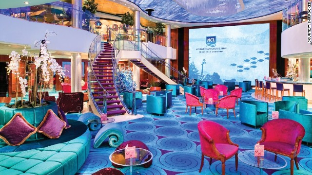 "The main atrium of the Norwegian Pearl. This venue will host ""Shiprocked's"" giant video wall as well as performances from musicians, comedians and dancers."