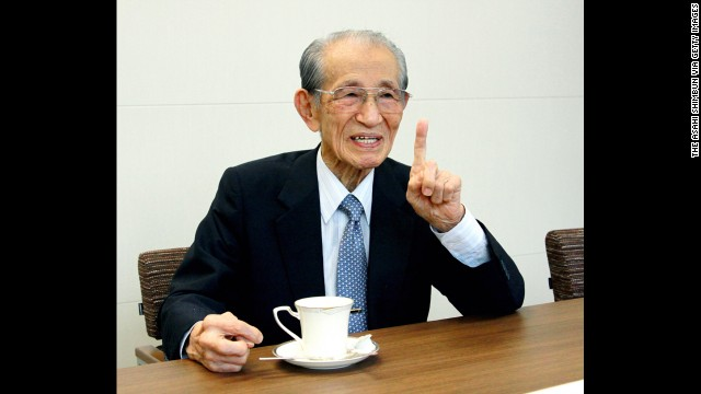 Onoda holds an interview with the Asahi Shimbun newspaper in September 2013 in Tokyo.