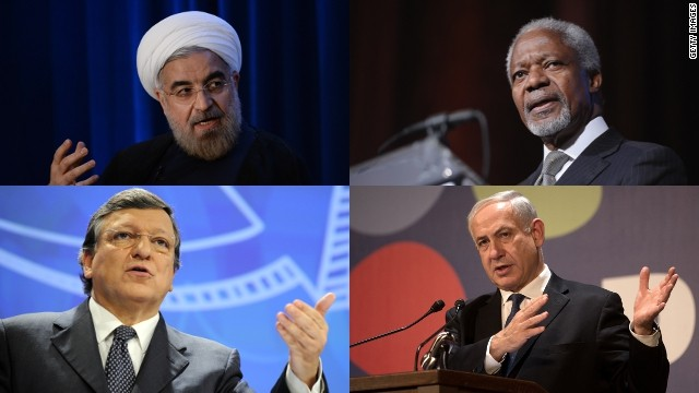 Iranian President Hassan Rouhani, Kofi Annan, Israel's PM Benjamin Netanyahu and EU's Manuel Barrosso