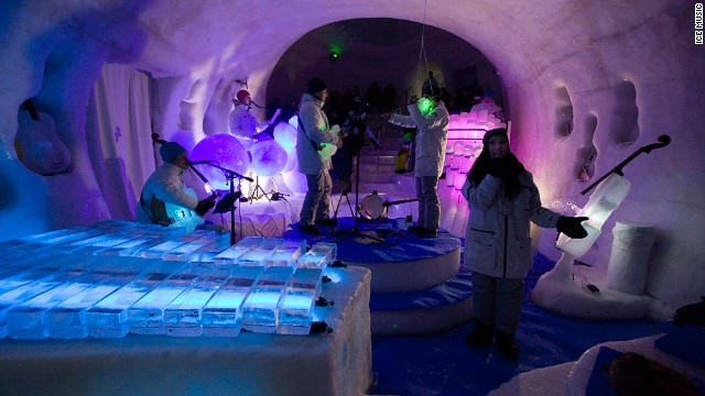 "A concert in the igloo auditorium is ""like a nightclub in heaven,"" according to Linhart."