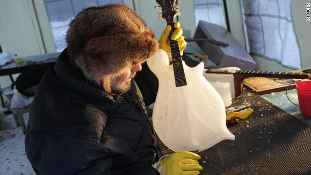American expat Tim Linhart carves all the orchestra's ice instruments in a shelter in his garden each winter. And, no, there's no heater under that bench.
