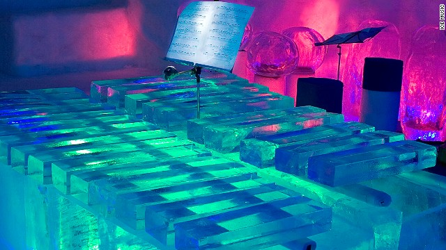 Bicycle inner tubes beneath the ice xylophone's bars improve resonance.