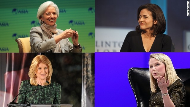 IMF chief Christine Lagarde, Sheryl Sandberg, COO of Facebook, Yahoo's Marissa Mayer and editor Arianna Huffington