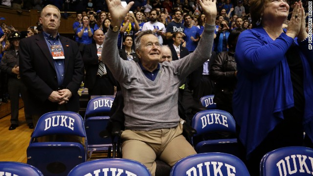 George H. W. Bush cheers on victorious Duke Basketball