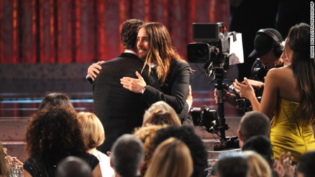 "Matthew McConaughey, left, embraces Jared Leto after winning the award for outstanding performance by a male actor in a leading role for ""Dallas Buyers Club."" Leto won best supporting actor for his role in the film."