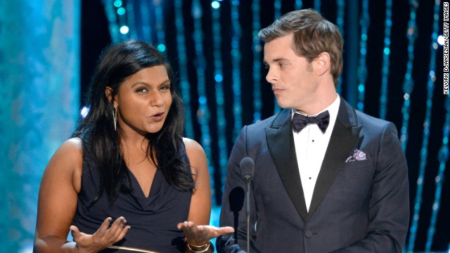 "Mindy Kaling and James Marsden present the award for best actress in a drama series. It went to Maggie Smith for her role in ""Downton Abbey."""