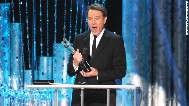 "Bryan Cranston accepts the award for outstanding performance by a male actor in a drama series for his lead role in ""Breaking Bad."""