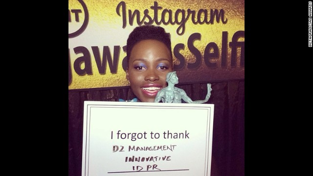 "Lupita Nyong'o won the first statue at the January 18 SAG Awards, and she had to thank a few of her supporters after she left the stage. The ""I forgot to thank"" card quickly became a meme on the SAG Awards' Instagram account."