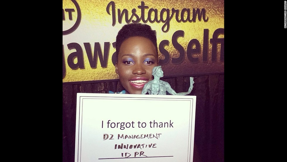 "Lupita Nyong'o won the first statue at the January 18 SAG Awards, and she had to thank a few of her supporters after she left the stage. The ""I forgot to thank"" card quickly became a meme on <a href='http://instagram.com/sagawards' target='_blank'>the SAG Awards' Instagram account.</a>"