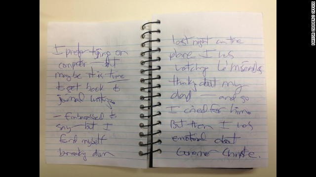 CNN received images of journal entries from Hoboken Mayor Dawn Zimmer's office that Zimmer said she wrote in May 2013. This entry reads,