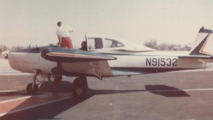 Aero Club of Southern Calfornia attorney Bob Lyon, seated, and his brother Jim are seen in the cockpit of Lyon\'s Navion aircraft in this undated photo.