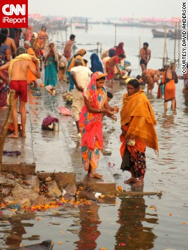 Hindus wash in the Ganges river during morning prayers. Read more about the ritual on <a href='http://ireport.cnn.com/docs/DOC-1061539'>CNN iReport</a>.