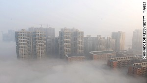 In Hunan Province, smog shrouds the city of Changsha on January 14, 2014.