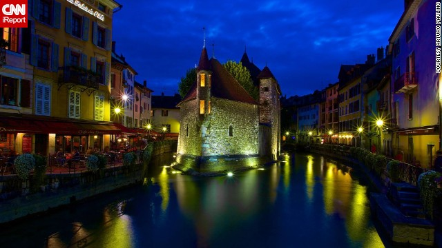 "<a href='http://ireport.cnn.com/docs/DOC-1064893'>Palais de l'Isle</a> sits in the middle of the Thiou canal. ""Annecy has a storybook feel with a beautiful lake, historical buildings and canals,"" said Arturo Paulino."