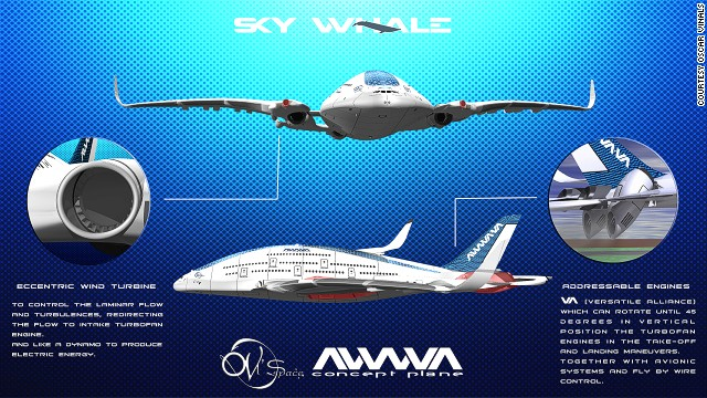 The plane would be greener and more energy-efficient, says Viñals, able to make longer journeys without refueling thanks to a double fuselage and micro solar cells on the wings.