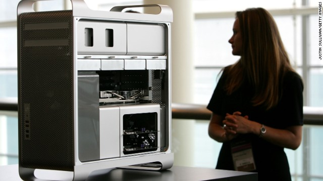 A new Apple Mac Pro desktop computer is displayed at the 2006 Apple Worldwide Developer's Conference in San Francisco.