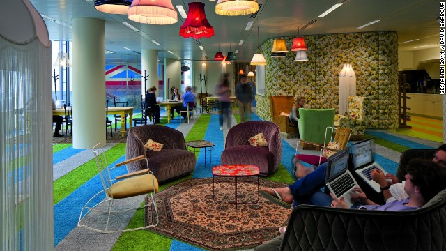Google's playful branding extends to its London headquarters, where designers created a cozy atmosphere that beckons employees to kick up their feet and relax. It's thought that inviting spaces, such as the so-called 'Granny Flat', above, will encourage innovation with its rocking chairs and floral print walls.