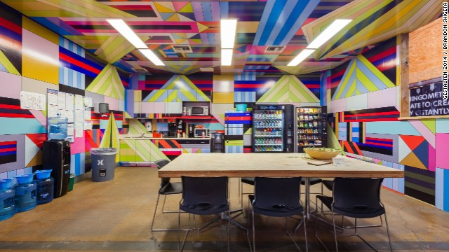 <a href='http://www.hurley.com/' target='_blank'>Hurley</a>, the surf and skateboard clothing company, creates a laid-back and offbeat atmosphere at its California headquarters. Employees are encouraged to personalize their workspaces and to make the most of the building's music studio, break rooms, and social spaces. The colorful staff kitchen, above, is meant to nurture creativity and enliven the senses.