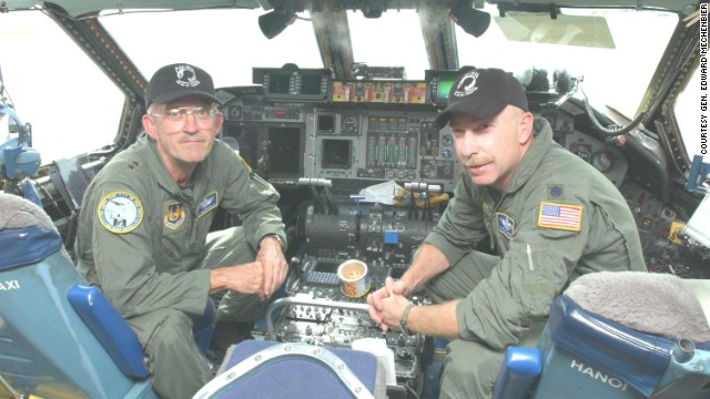 """In 2004, Air Force ex-POW<a href='http://www.af.mil/AboutUs/Biographies/Display/tabid/225/Article/108288/major-general-edward-j-mechenbier.aspx' target='_blank'> Maj. Gen. Edward Mechenbier</a>, left, and co-pilot Lt. Col. Steve Johnson flew the """"Hanoi Taxi"""" back to Vietnam to <a href='http://www.af.mil/News/ArticleDisplay/tabid/223/Article/136802/airmen-pay-respect-during-repatriation-ceremony.aspx' target='_blank'>recover remains of two U.S. service members</a> killed in the war."""