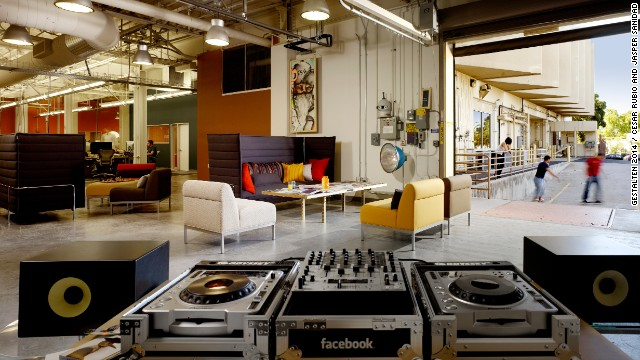 For Facebook's HQ architects renovated an abandoned tech lab in the Stanford Research Park. The open floor plan is meant to invoke a shared living space. Work and play mingle at every turn, as seen with these DJ turntables, which are used during dance parties.