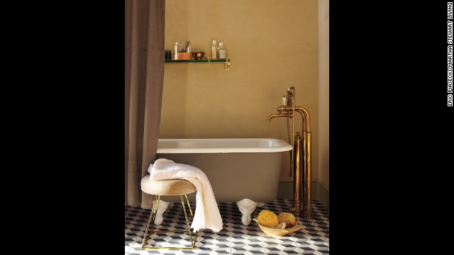Create a romantic, luxurious mood in a bathroom with just a few brass touches like this striking exposed tub filler, which combines old world elegance with modern craftsmanship. Since the minerals found in tap water can spot unlacquered brass, be sure to wipe away droplets with a soft cloth.