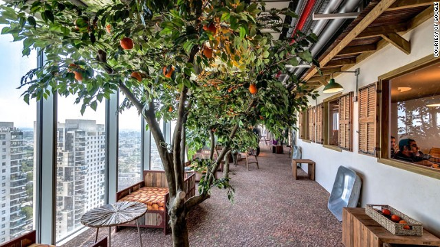 Google's campus in Tel Aviv celebrates the local community with a series of themed rooms. Surfboarding culture is captured in a room filled with surfboards, while some of the corridors resemble the city's cobbled streets. The meeting area above is filled with orange trees, a symbol of the city.