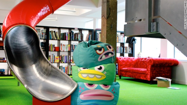 <a href='http://mindcandy.com/' target='_blank'>Mind Candy</a>, the entertainment company behind the wildly popular Moshi Monsters franchise, has stocked its London headquarters with bean bags, AstroTurf, and a tree house which can be used for meetings. Rather than taking the stairs employees can take this slide.