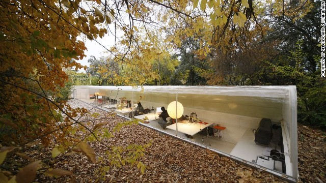 "Employees at the Spanish architecture firm <a href='http://www.selgascano.net/' target='_blank'>selgascano</a> work in this tubular capsule, located in the woods outside of Madrid. All that separates them from the forest is a curved window that is 20mm thick. ""Rainy days are the best,"" says architect Paolo Tringali. ""The sound of rain becomes a gentle backdrop, and the light under the clouds softens to something really special."""
