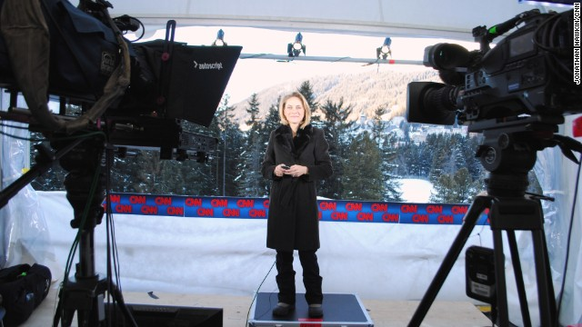 Go behind the scenes of CNN Davos coverage. Here is Nina dos Santos getting ready to go on air at Davos.