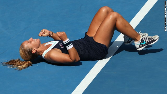 Slovakia's Cibulkova shocked fifth seed Agnieszka Radwanska to reach her first grand slam final. The world No. 24 beat Poland's Radwanska 6-1 6-2.