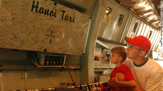 Over the years, the plane has become a kind of flying museum. Photos and signatures of ex-POWs who rode the Hanoi Taxi to freedom line its interior.