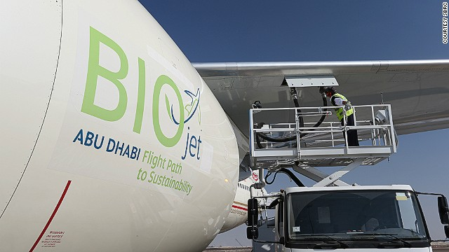 Etihad Airways' 45-minute demonstration flight in Abu Dhabi on Saturday was the first ever to be powered with U.A.E.-produced biofuel. (Credit: www.cnn.com) Click to enlarge.