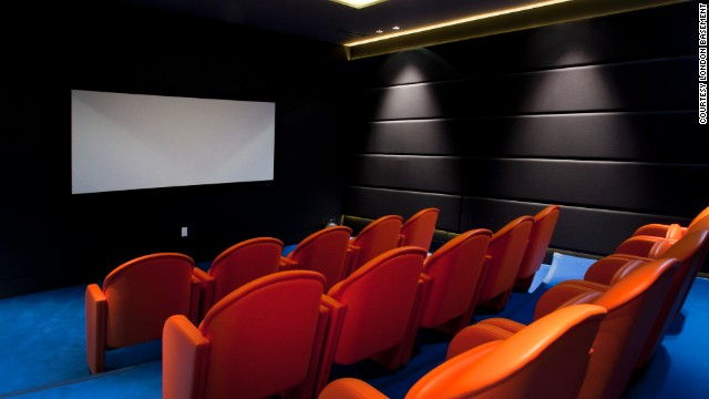 A stylish home cinema in a London basement added by expert dig-down company, London Basement.
