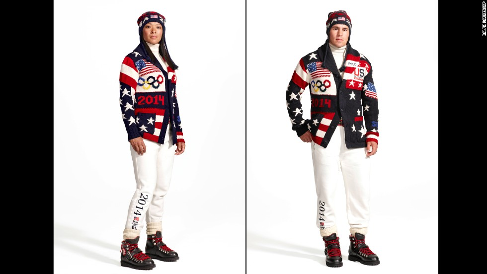 Ralph Lauren has debuted the uniforms Team USA will wear during the opening ceremony for the 2014 Winter Olympics in Sochi, Russia, in February. Here, Olympic ice hockey players Julie Chu and Zach Parise model the official uniform. American manufacturers and craftspeople reportedly have made all the uniforms. Take a look at athletes' uniforms from Games past: