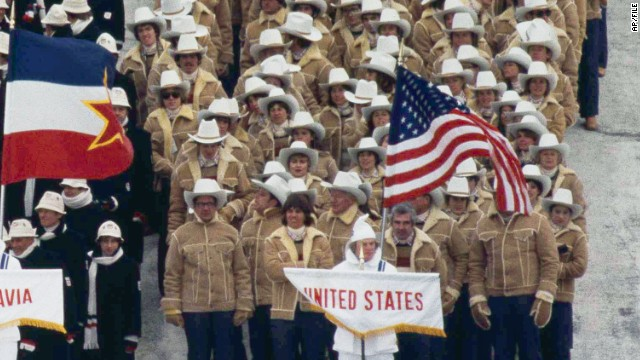 U.S. athletes at the 1980 Winter Olympics in Lake Placid, New York.