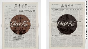 Chocolate is smeared on top of North Korean-run state newspaper Rodung Sinmun.