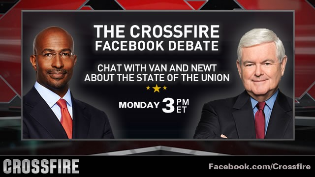 The Crossfire live Facebook debate with Gingrich, Jones at 3 p.m. ET